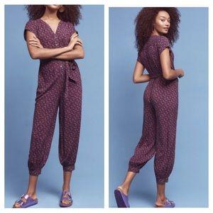 Anthropologie Maeve Karsten Purple Print Jumpsuit